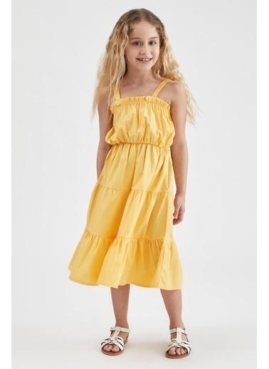 DeFacto Kız Çocuk Volanlı Askılı Dokuma Elbise Sarı